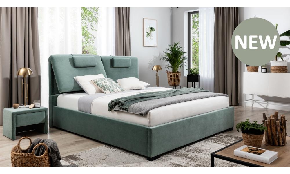 Łóżko tapicerowane Boho z pojemnikiem na pościel New Elegance